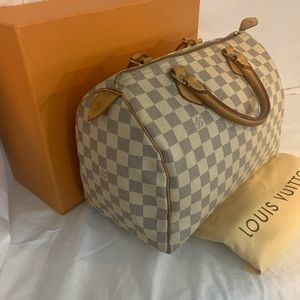 100% Authentic Louis Vuitton Speedy 30 Azur